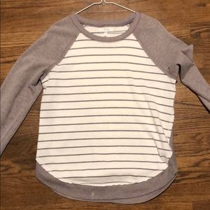 Maurice's size S striped sweatshirt gray and white